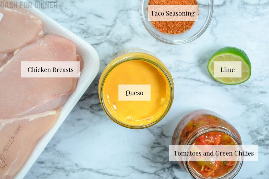 Ingredients needed to make Slow Cooker Queso Chicken Tacos: Chicken breasts, queso, rotel, taco seasoning, and lime.