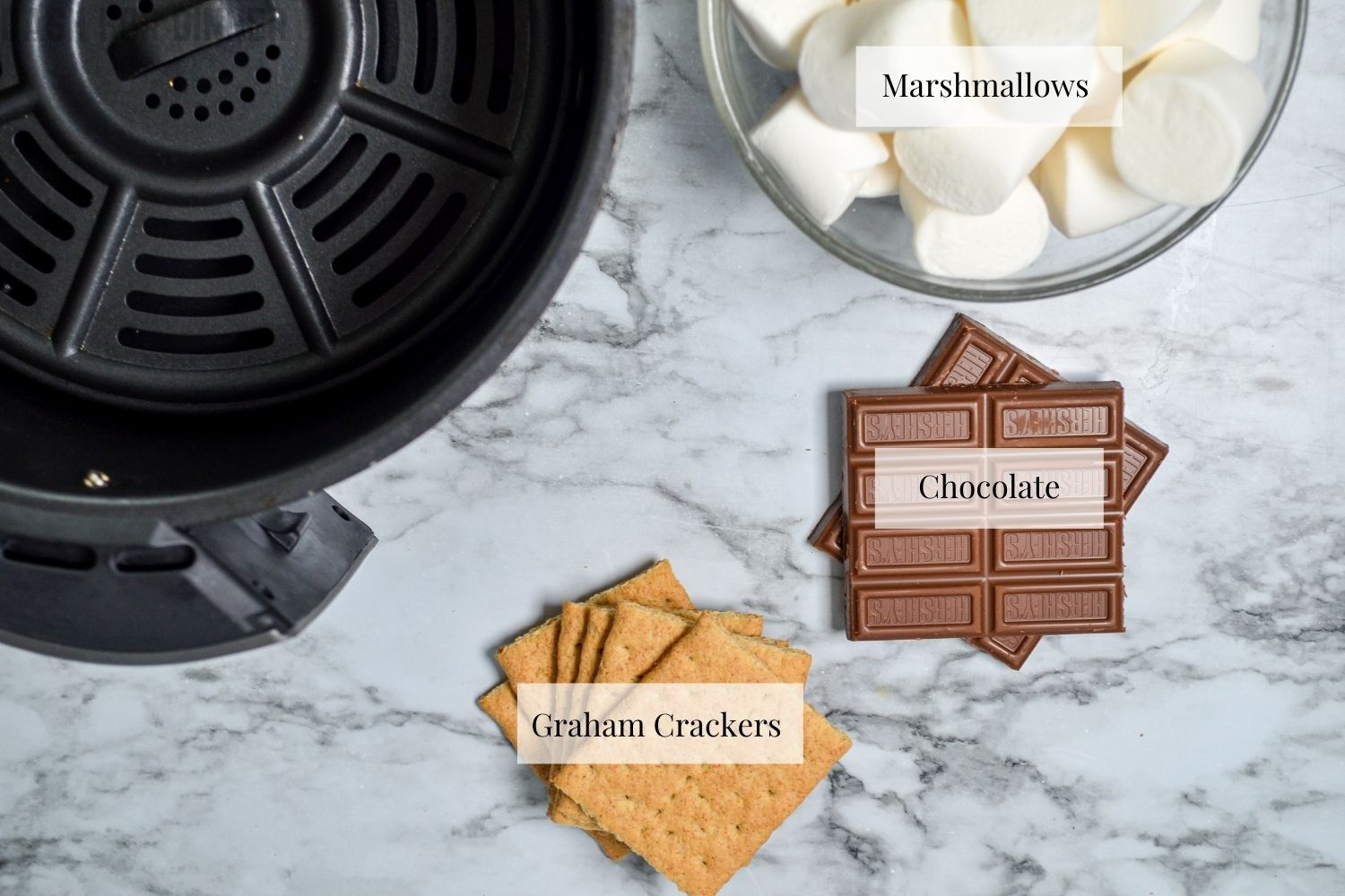 Ingredients needed to make smores in the air fryer.