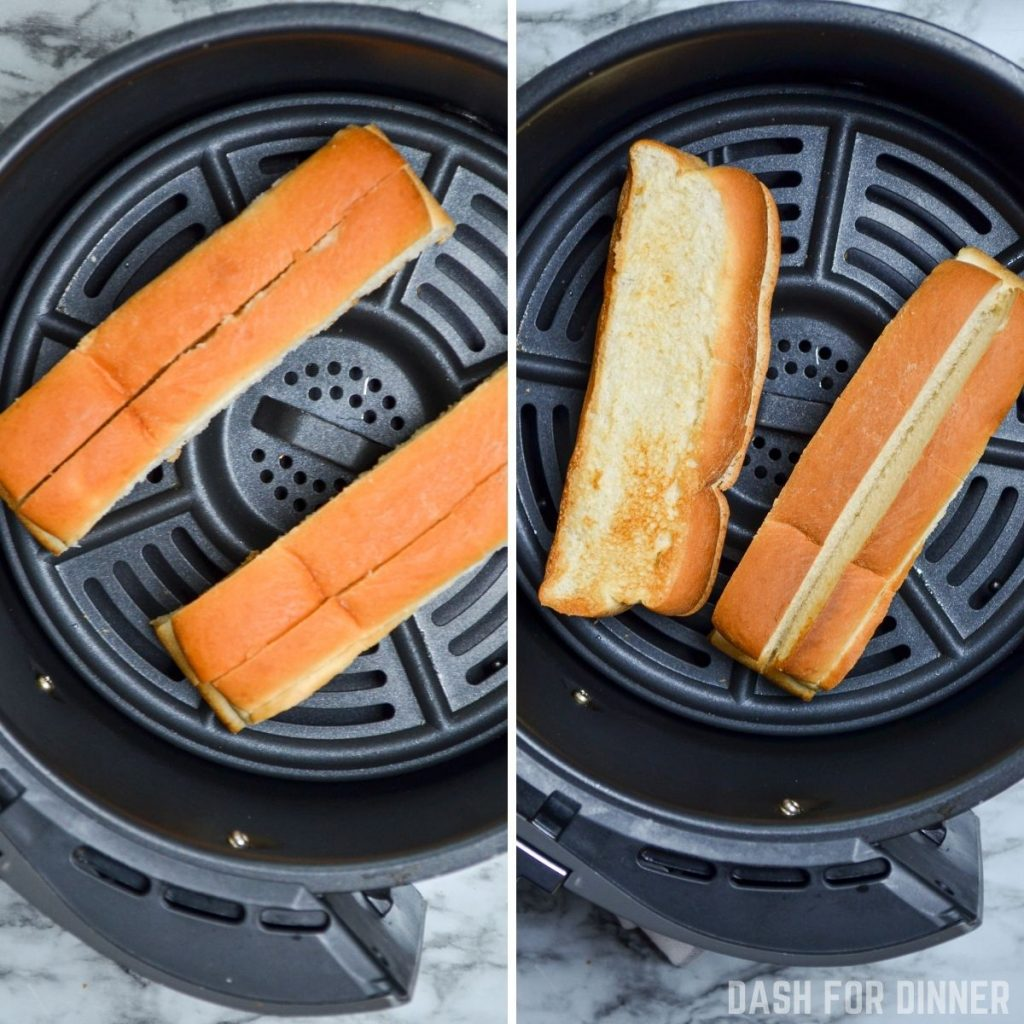 Toasted hot dog buns in the air fryer.