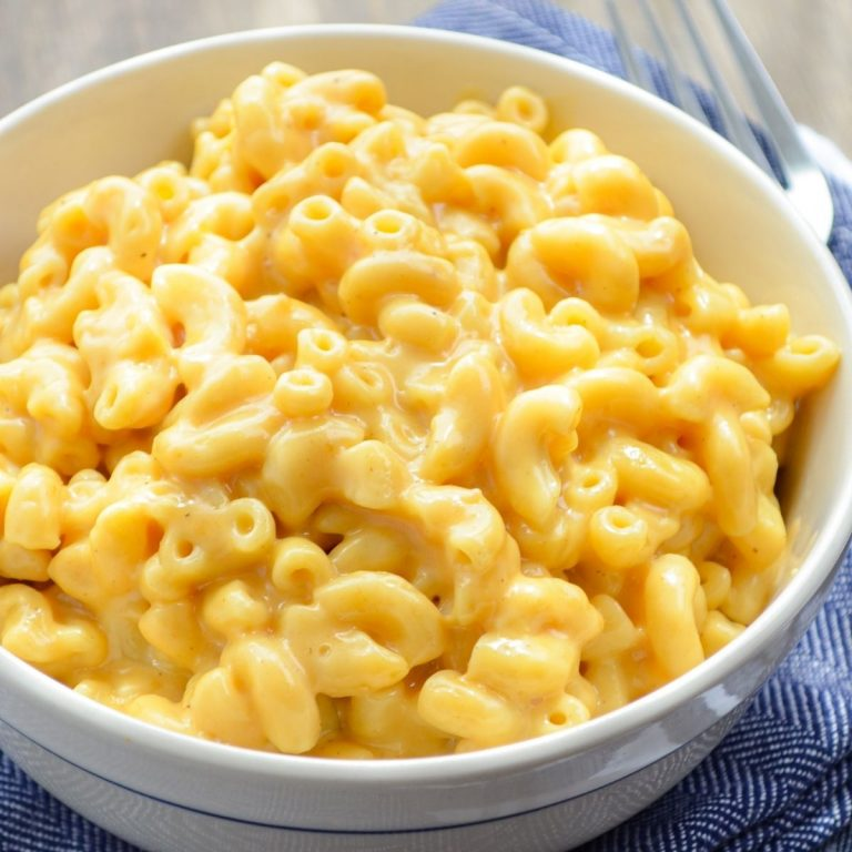 5 ingredient instant pot mac and cheese in a small bowl.