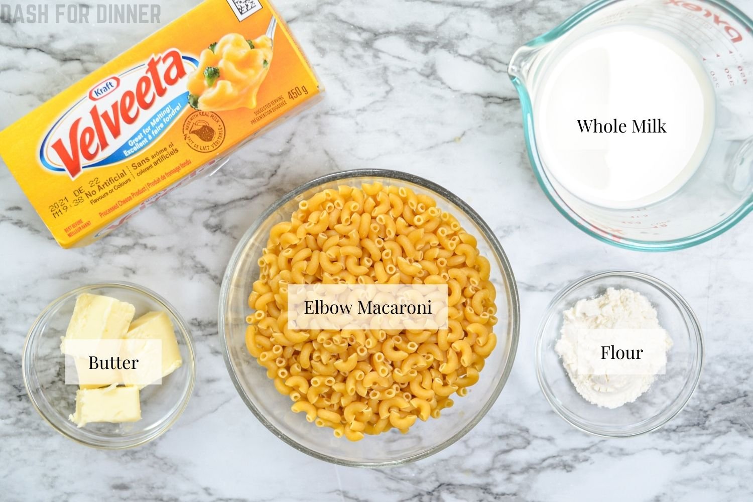 The ingredients needed to make 5 ingredient instant pot mac and cheese.