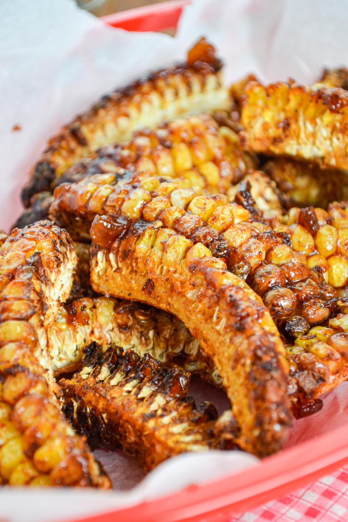 A basket of corn ribs, made in the air fryer.