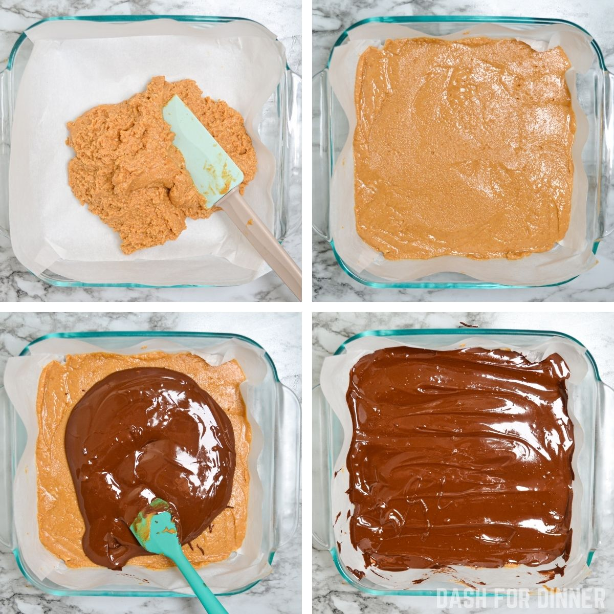How to make peanut butter bars with a chocolate layer.