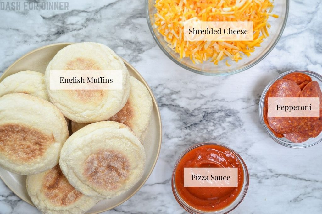 The ingredients needed to make air fryer english muffin pizzas.