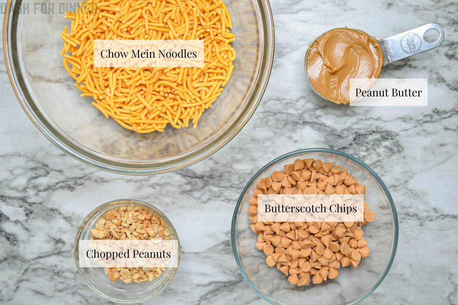 The ingredients needed to make butterscotch haystacks