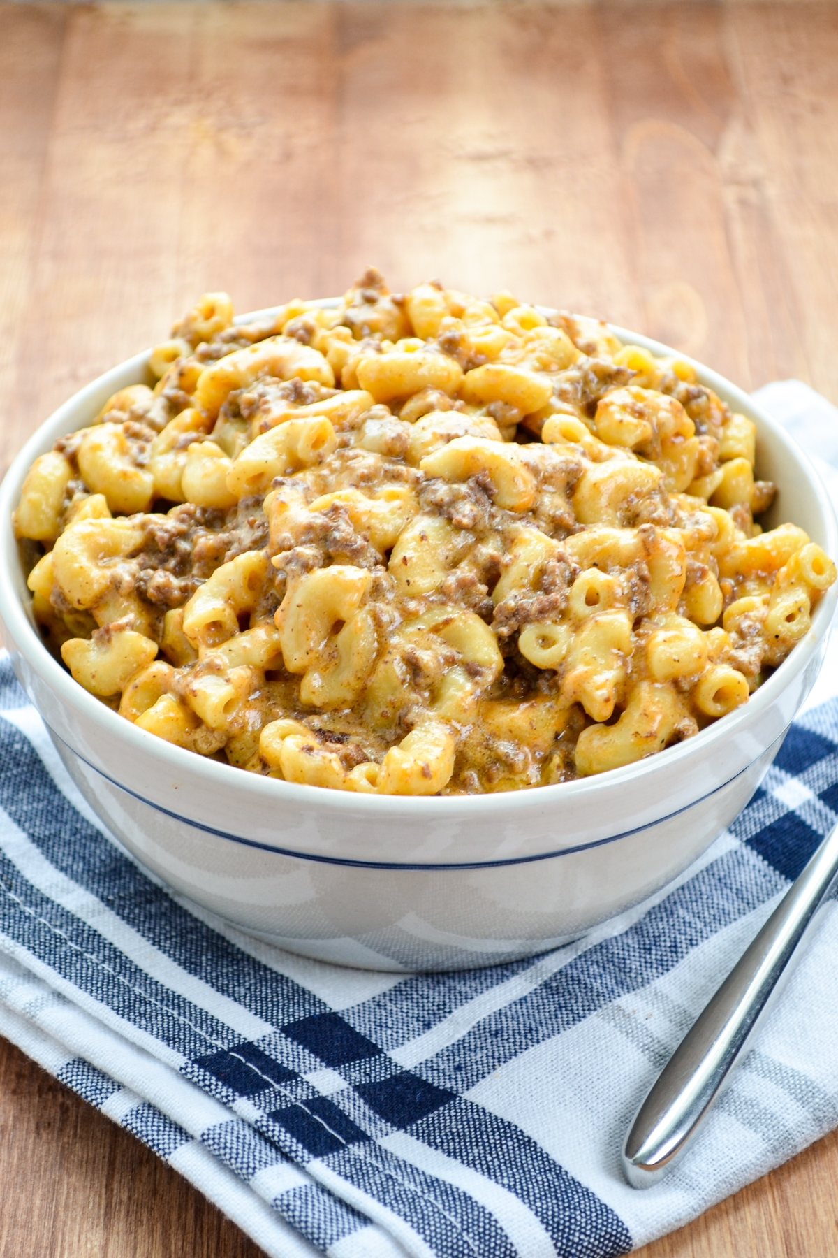 A bowl of hamburger helper that was made in the Instant Pot.