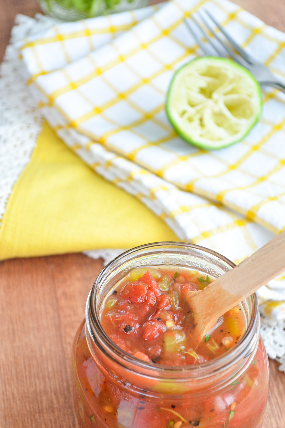 A jar of homemade tomatoes and green chilies. A great substitute for Rotel.