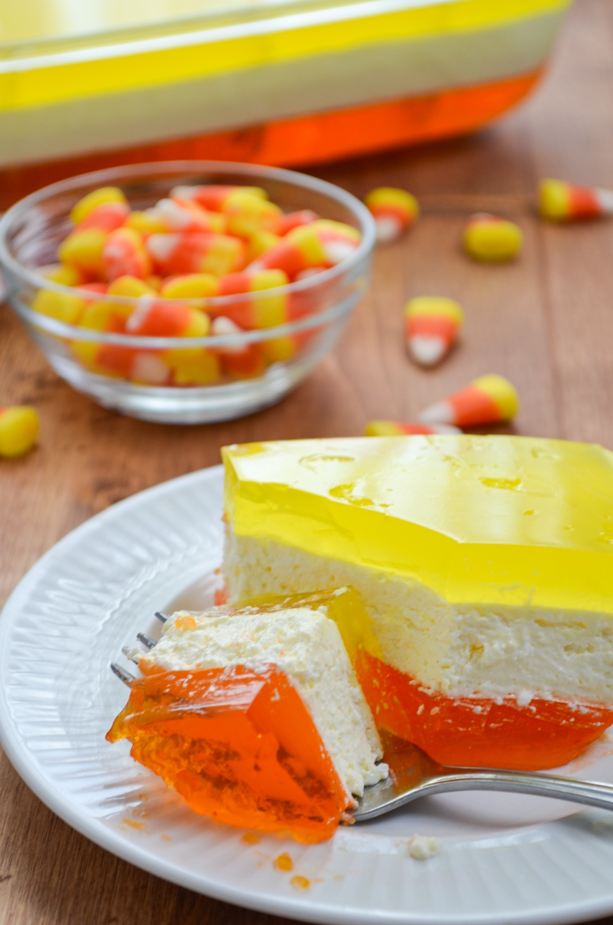 A slice of layered Halloween Jello.
