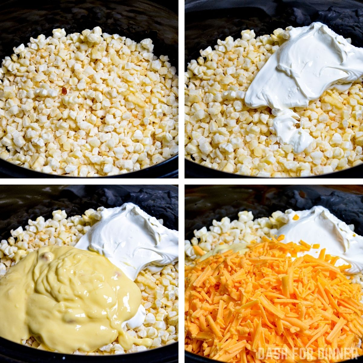 How to make slow cooker cheesy hashbrown casserole.