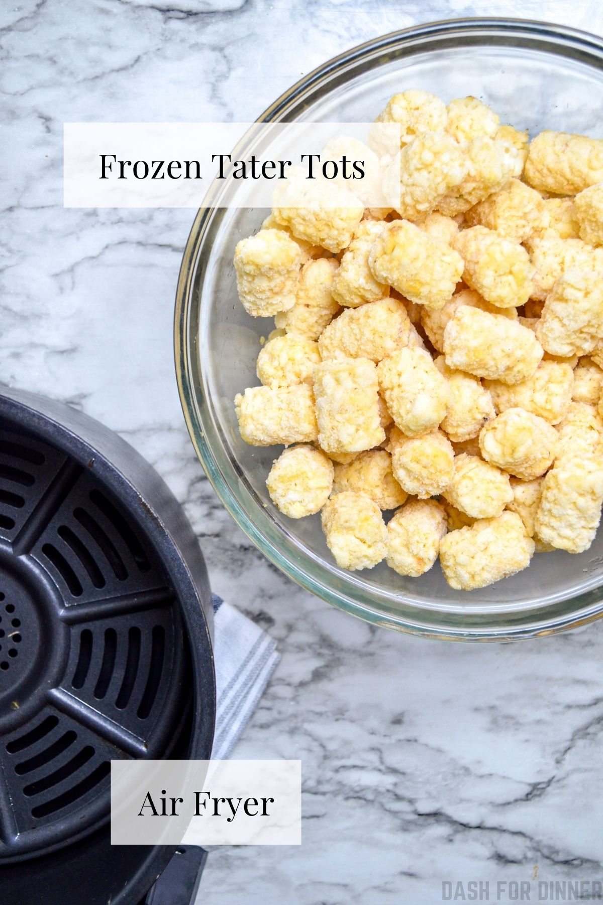 The ingredients needed to make tater tots in the air fryer: tater tots, and an air fryer!