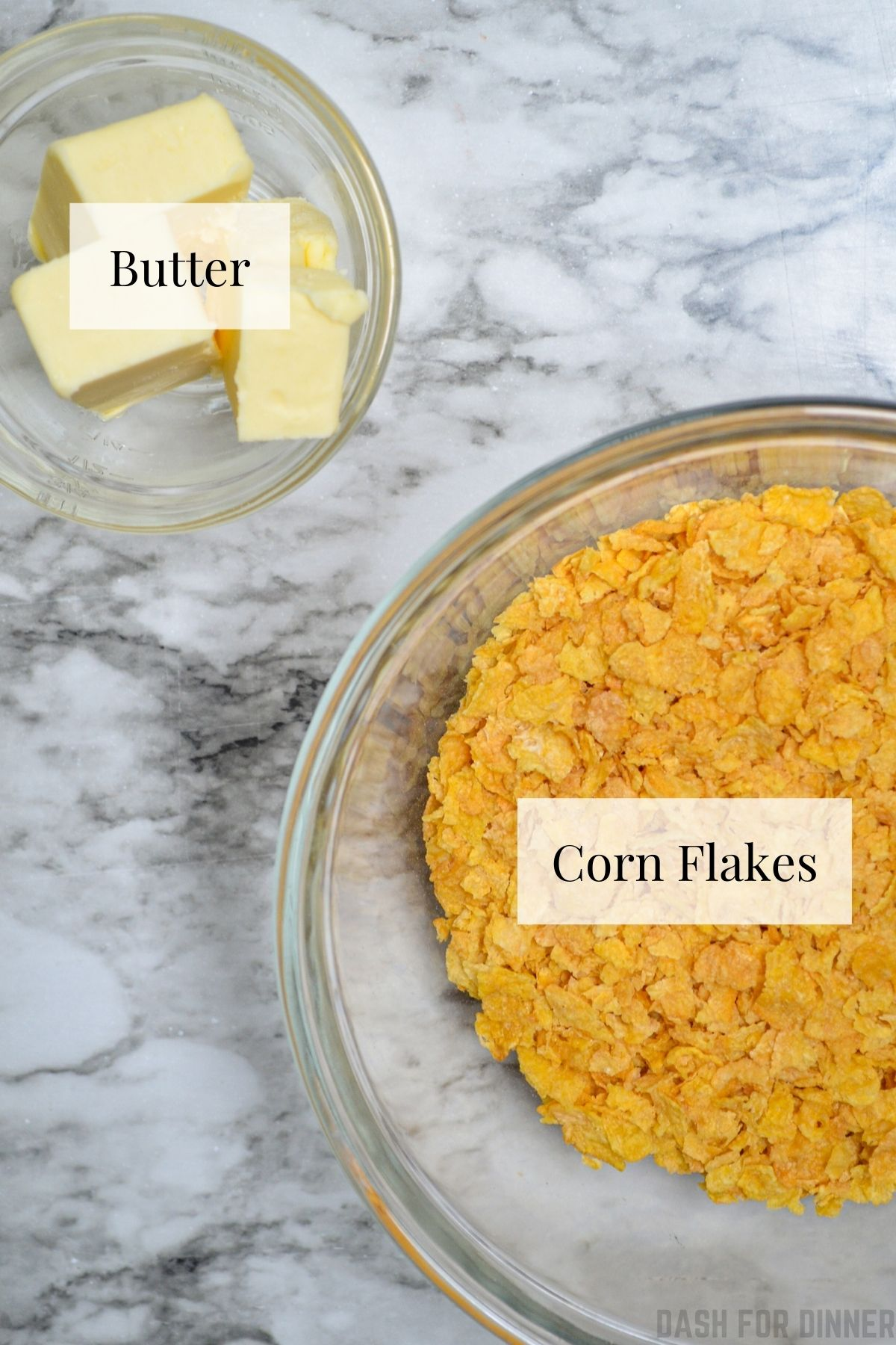 The ingredients needed to make a crunchy casserole topping: corn flakes and butter.