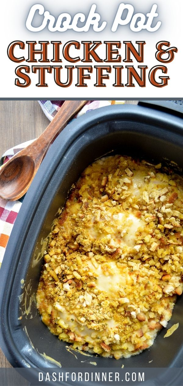A slow cooker full of chicken and stuffing casserole.