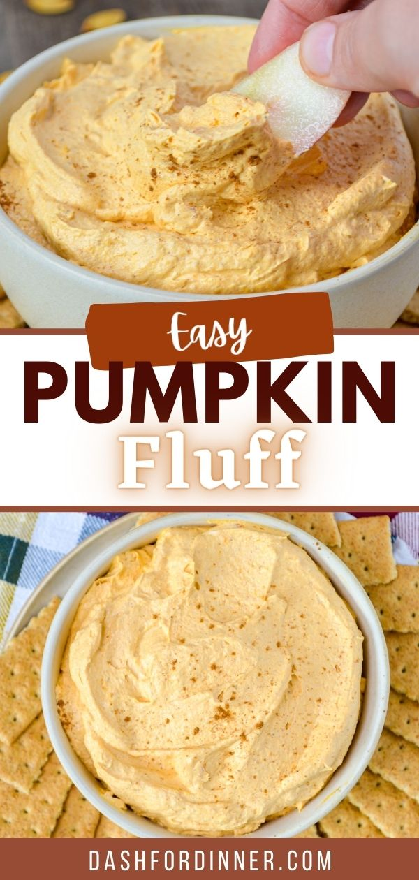 A bowl of pumpkin fluff dip, with an apple being dipped into it.