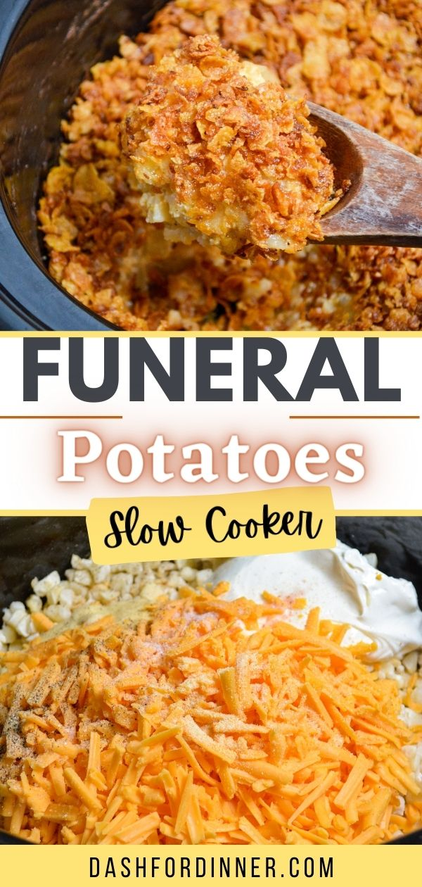 A crock pot full of cheesy hashbrown casserole. The text reading: funeral potatoes, slow cooker.