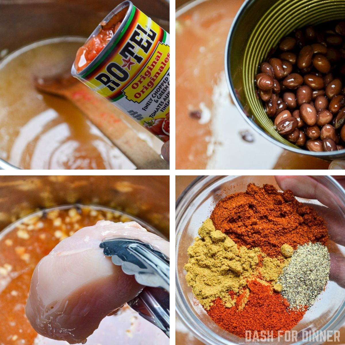 Adding various ingredients to an Instant Pot for soup, including a can of Rotel, black beans, chicken, and taco seasonings.