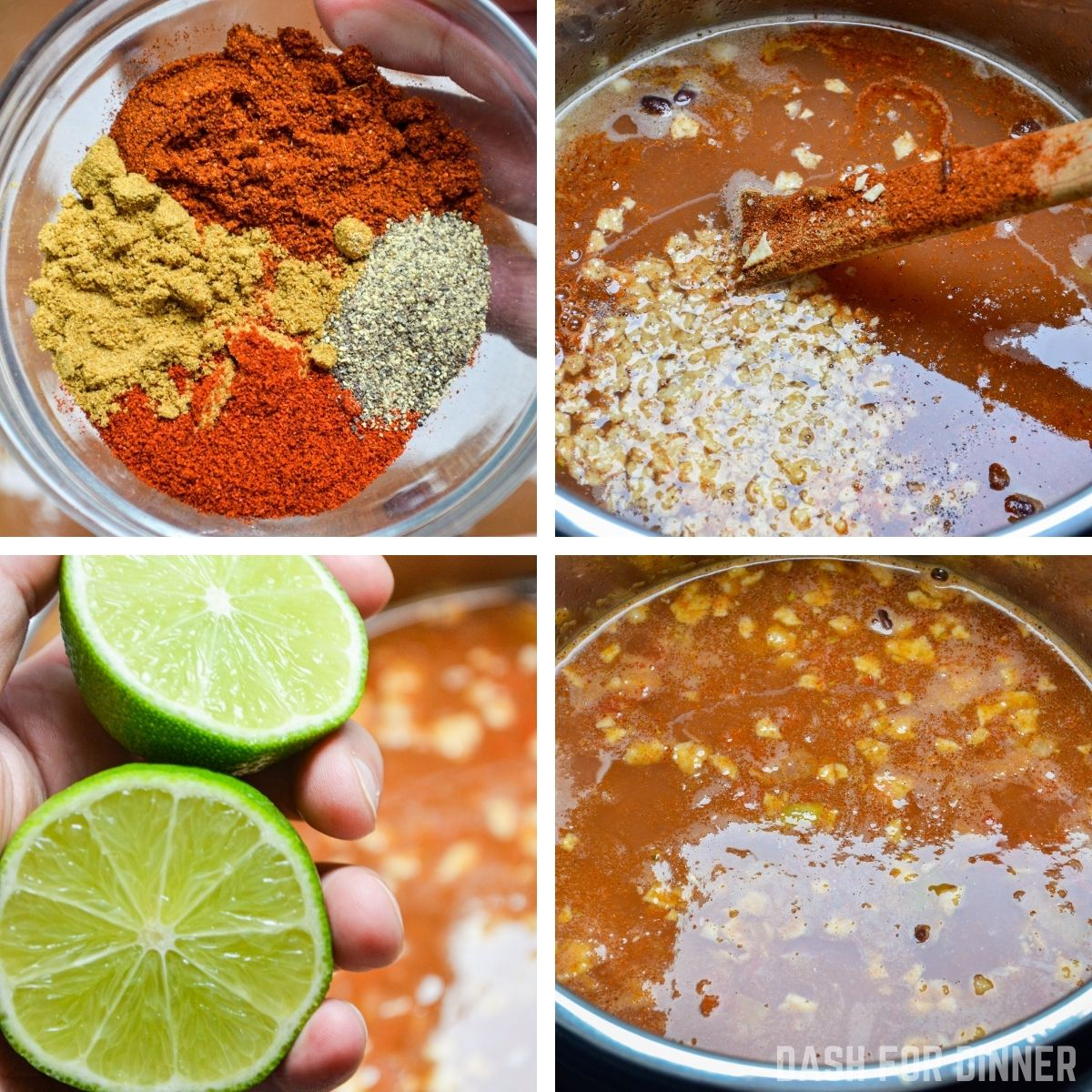Adding seasoning and lime juice to an Instant Pot soup.