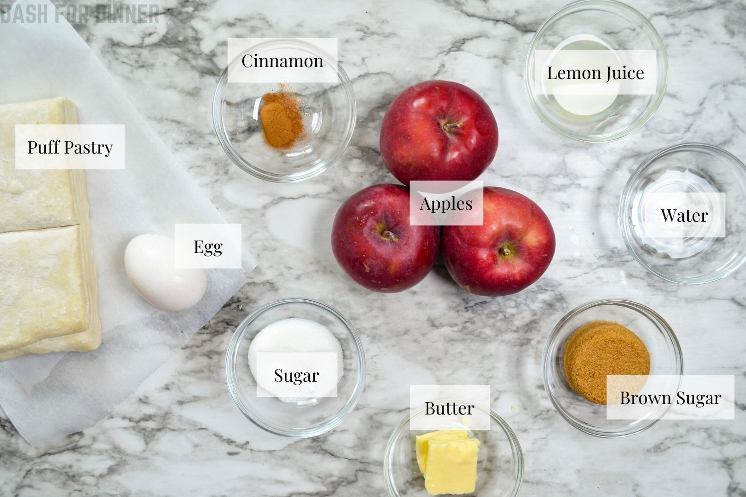 The ingredients needed to make apple turnovers in an air fryer